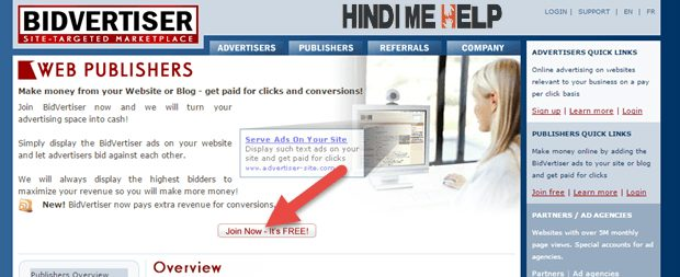 Bidvertiser ki site par jane ke baad hoin Now its free ki button par click kare