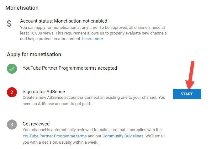 youtube me adsense apply karne ke liye click kare