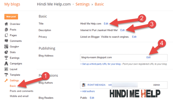 blog ki address tital discription change karne ke liye yaha click kare