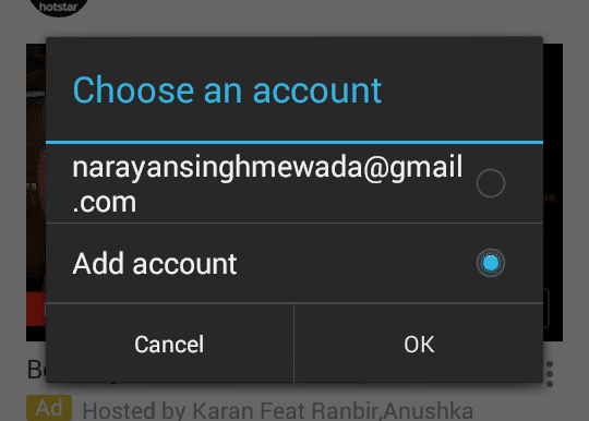 Apna Gmail ka account select kare