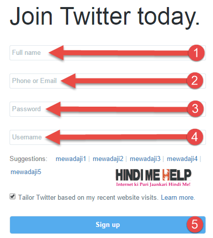 Twitter par account banane ke liye sign up form ko bharo