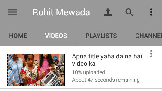 Video upload hona start ho jayega