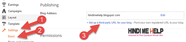 blogger ki setting me ja kar third party domain par click kare