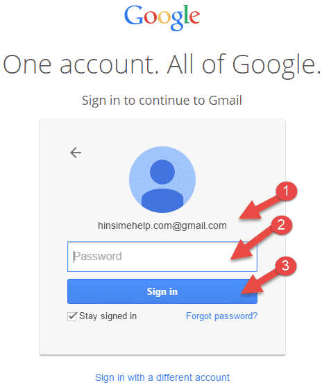 gmail me login arne ke liye apna password dale