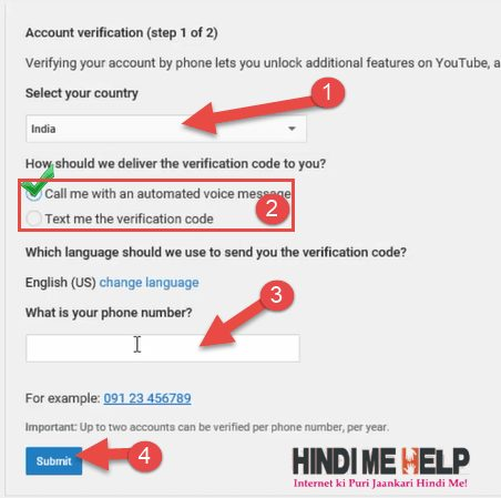 apni country select kare.verify ki method select kare fir apna Mobile Number dale fir submit ki button par click kare