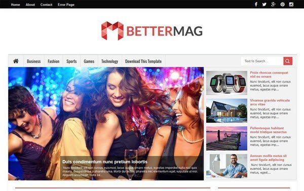Better Mag Responsive Blogger Template hindi me