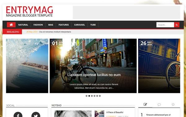 EntryMag Responsive Magazine Blogger Template