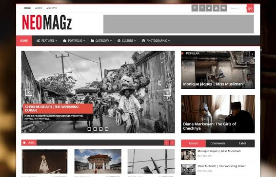 NEOMAGz Responsive Magazine Blogger Template