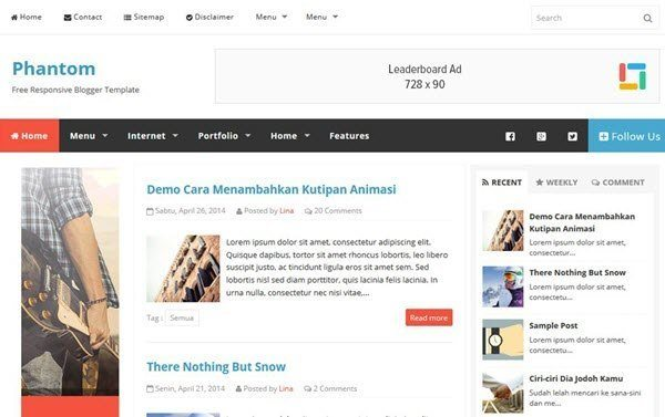 Phantom Free Responsive Blogger Template