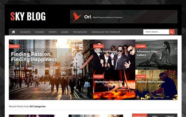 Sky Blog Responsive Blogger Template