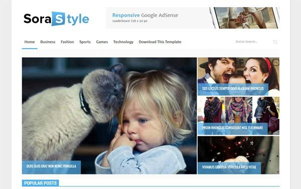 Sora Style Responsive Blogger Template