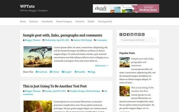 WPTuts Responsive Blogger Template