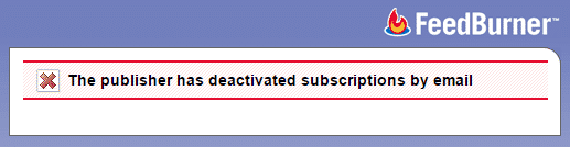 email subscription error message in feedburner