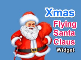 Xmas Flying Santa Claus Widget for Blogger