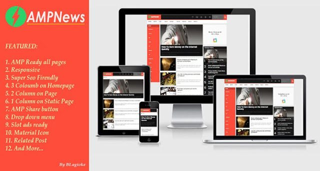 AMPNEWS AMP Blogger Template samachar website ke liye