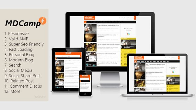 MDCAMP AMP Blogger Template free fast loading template