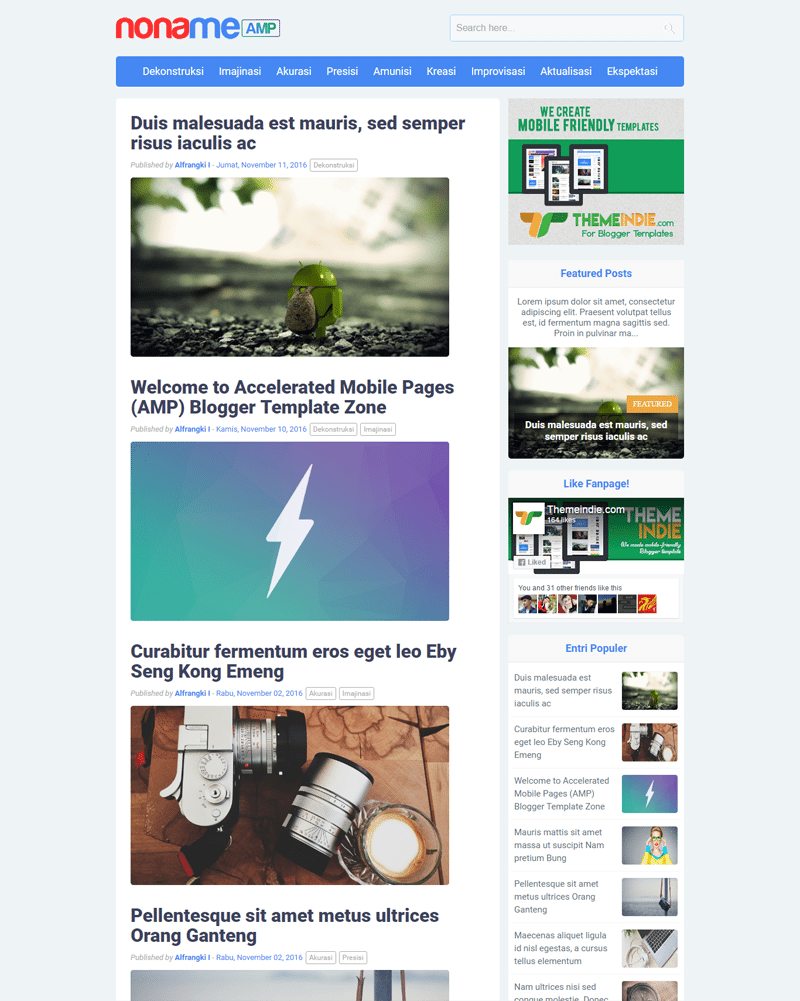 Noname AMP Blogger Template for faster blog