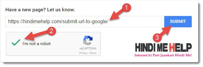 Submit URL to Google in hindi