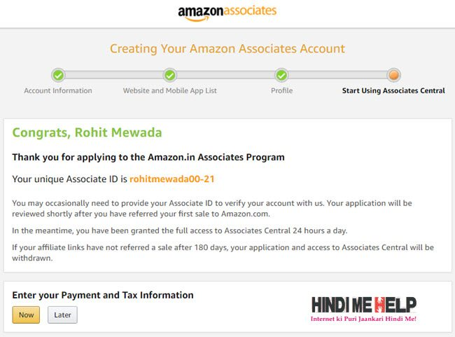 amazone affiliate account kaise banaye hindi me help