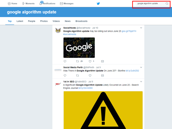 google search algorithm update search kare twitter par