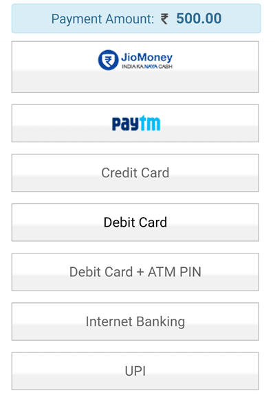 Payment mode select kare