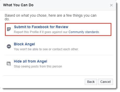 fb me submit kare fake account report