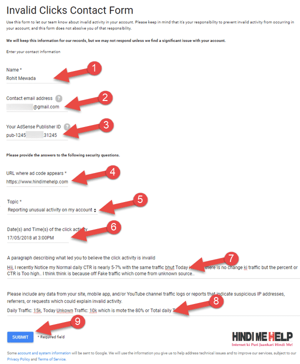 Google Adsense Invalid Activity | How Fill Invalid Click/Activity Form in Hindi - tegory%