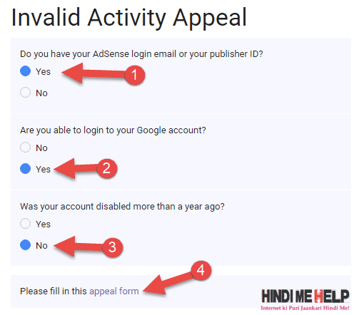 how to google Adsense Invalid Activity Appeal fill in hindi HMHpe