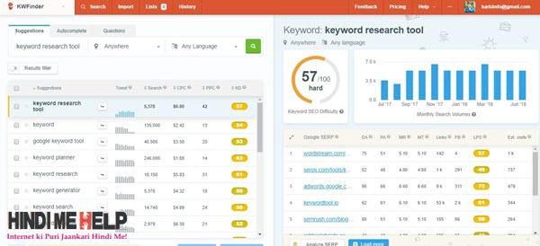 kwfinder me free keyword research kare hindi me