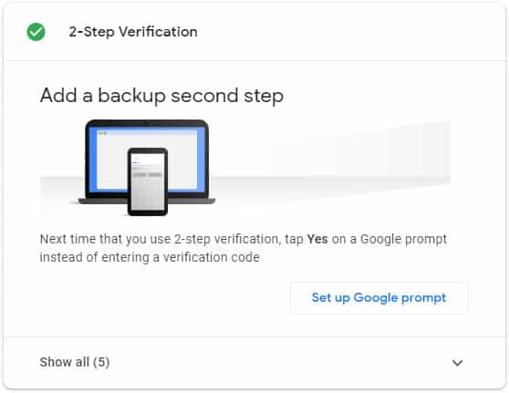 gmail 2 step verification on kare or Backup set kare