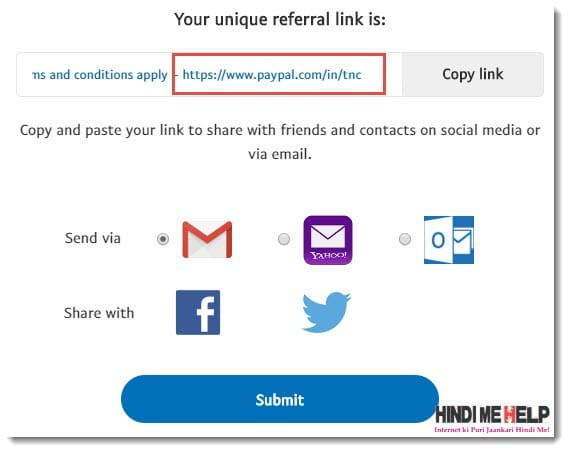 paypal referral link copy karke share kare