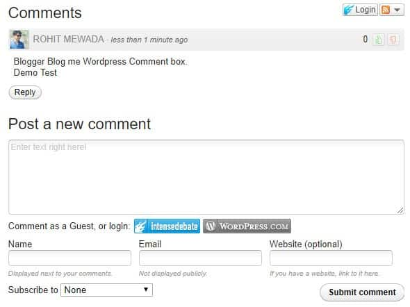 Wordpress Comment in Blogger Blog