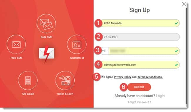 fast2sms signup kaise kare