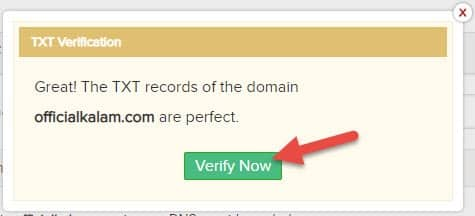 verify domain in zohomail after add code