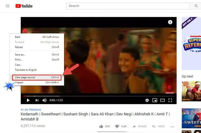 youtube video ka source code se tags dekhe