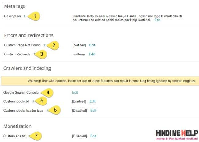 Blogger Search Preference Setting kaise kare